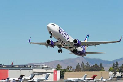 BURBANK, CALIFORNIA - APRIL 28: Avelo Airlines takes off with first flight between Burbank and Santa Rosa at Hollywood Burbank Airport on April 28, 2021 in Burbank, California. (Photo by Joe Scarnici/Getty Images for Avelo Air) (PRNewsfoto/Avelo Airlines)